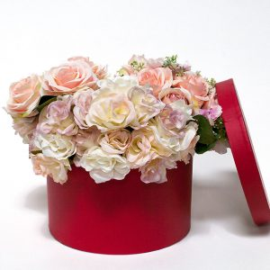 RW17006-P Red Round Flower Box with Plastic Liner