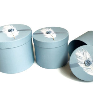W9194 Feather Baby Blue Round Flower Boxes (Set of 3)