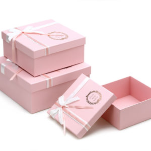W9202 Baby Pink Square-Shape Flower Boxes (Set of 3)