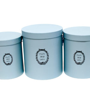 "W9218  Baby Blue ""Just For You"" Tall Round Flower Box Set of 3"