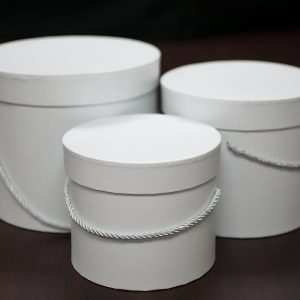 W9390 White Round Flower Box Set of 3