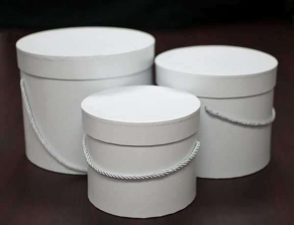 set of 3 White Round Flower Boxes