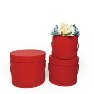 W9393 Red Round Flower Boxes Set of 3