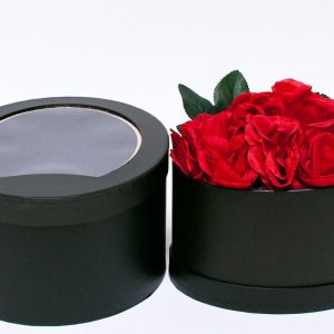 W9402 Black Oval Shape Flower Boxes with Window Top Set of 2