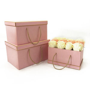 W9454 Pink with Golden Grids Rectangular Flower Boxes Set of 3