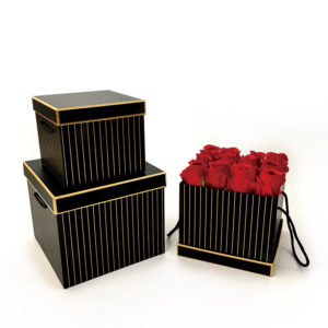 W9455 Black with Golden Grids Square Flower Boxes Set of 3