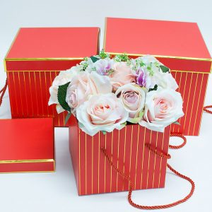 W9455red Red with Golden Grids Square Flower Boxes Set of 3