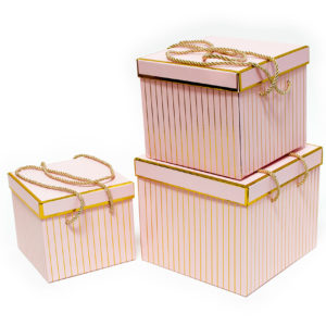 W9458 Pink with Golden Grids Square Flower Boxes Set of 3