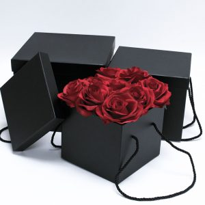 W9455 Black Square Flower Boxes Set of 3