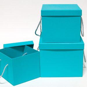 W9458 Light Blue Square Flower Boxes Set of 3