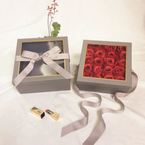 W9572 Grey Square Flower Boxes With Window and Ribbon Set of 2