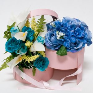 W9592 Pink Round Flower Box with Window Lid (Two-Layers)