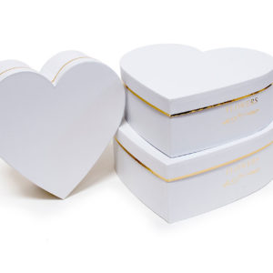 W9646 White Heart Shape Flower Boxes Set of 3