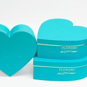 W9647TB Light Blue Heart Shape Flower Box