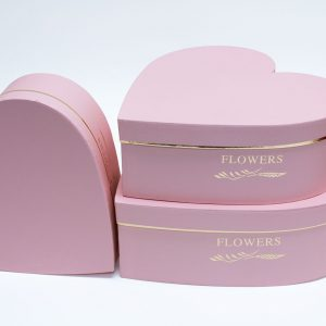 W9648 Pink Heart Shape Flower Box Set of 3