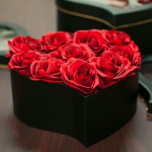 W9723 Royal Black Heart Shape Flower Boxes With Top Window (Set of 3)