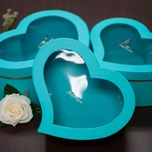 W9724TB Light Blue Window Heart Shape Flower Box