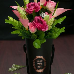 W9207 Black Cylinder Vase Paper Flower Box