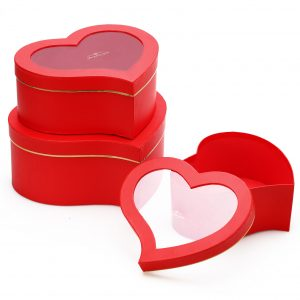 W9725 Red Heart Shape Flower Boxes With Window Set of 3