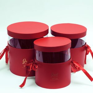 M029 Set of 3 Red Round Boxes With Transparent Top