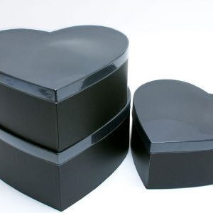 W6631 PVC Clear Lid Black Heart Shape Flower Box Set of 3