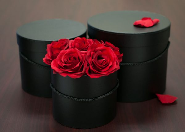 set of 3 Black Round Flower Boxes