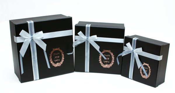 set of 3 Black Square Shape Gift boxes