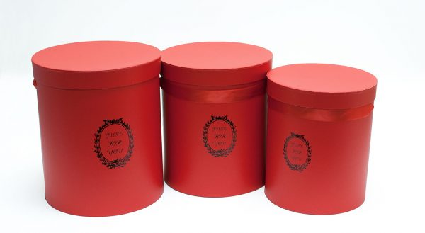 Set of 3 Red Round Flower Boxes
