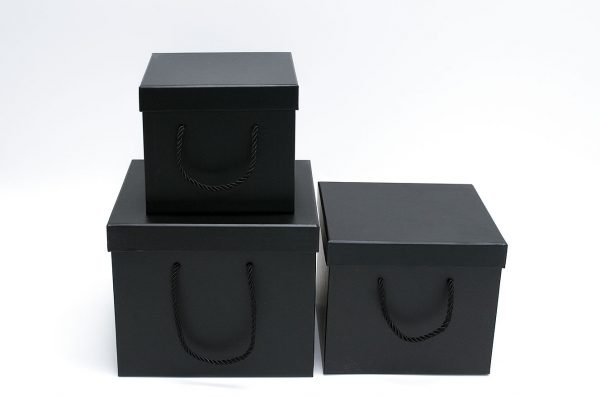 Set of 3 Black Square Flower boxes