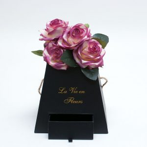 W9473 Black Square Pyramid Frustum Flower Box with Drawer