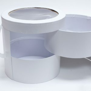 W9591 White Round Flower Box with Window Lid (Two-Layers)