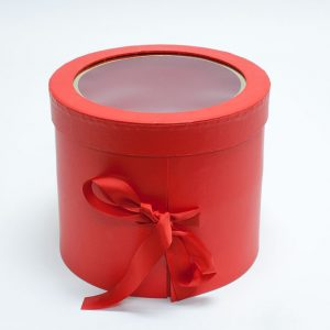 W9610 Red Round Flower Box with Window Lid (Two-Layers)