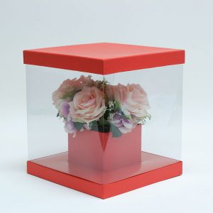 W9840 Clear Square Flower Box with Red Lid and Base