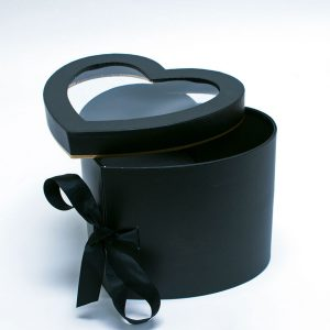 W9848 Black Heart Shape Flower Box with Window Lid (Two-Layers)