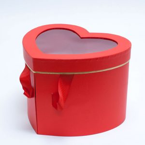 W9850 Red Heart Shape Flower Box with Window Lid (Two-Layers)