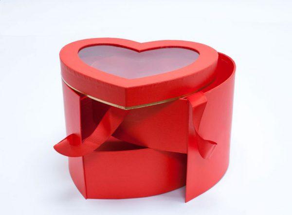 Red Two Tier Heart Shape Flower Box