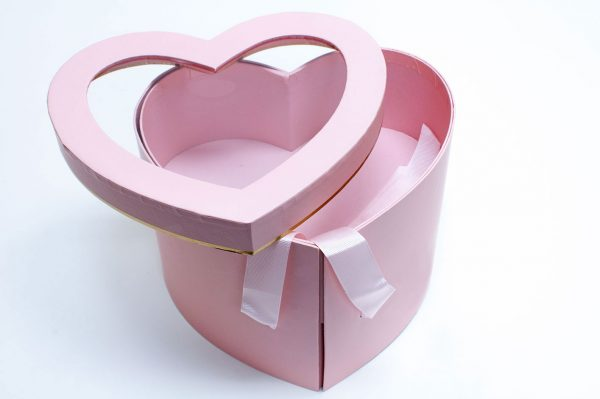 Pink Two Tier Heart Shape Flower Box