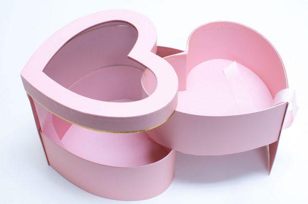 Pink Two Tier Heart Shape Flower Box
