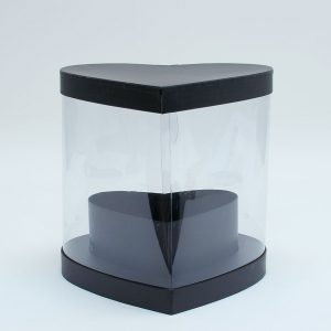 W9883 Clear Heart Shape Flower Box with Black Lid and Base