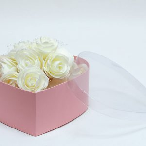 W6633 PVC Clear Lid Pink Heart Shape Flower Box Set of 3