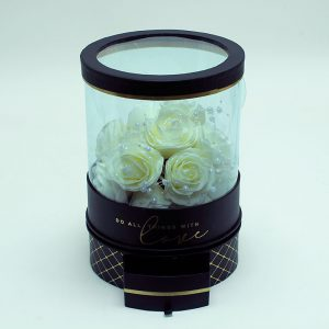 W6943 Rotatable Clear Round Shape Flower Box with Black Lid and Base