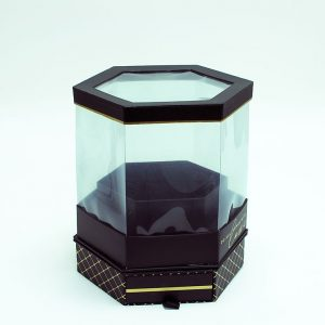 W6951 Rotatable Clear Hexagon Flower Box with Black Lid and Base