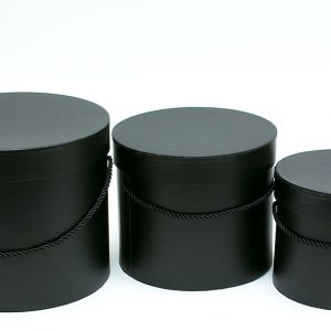 W7008 Black Round Flower Paper Box with Lid Set of 3 (S/M/L)