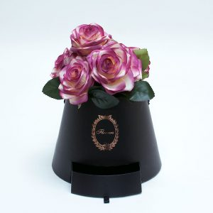 W9761 Black Cylinder Flower Box With Drawer