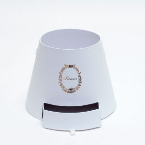 W9762 White Cylinder Flower Box With Drawer