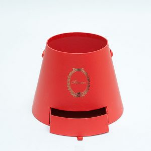 W9764 Red Cylinder Flower Box With Drawer