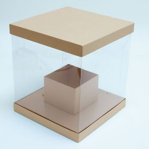 W9794 Clear Square Flower Box with Tan Lid and Base