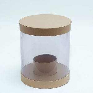 W9795 Clear Round Shape Flower Box with Tan Lid and Base