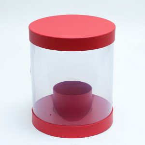 W9843 Clear Round Shape Flower Box with Red Lid and Base