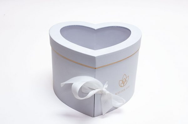 White Two Layer Heart Shape Flower Box
